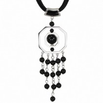 Black Agate Spin Drop Silver Pendant w. Leather Necklace