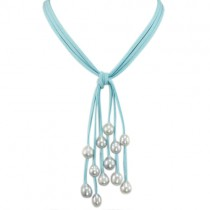 Blue Triple Strand Cascading Dyed Gray 9-10mm Cultured Pearls Suede Necklace