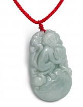 Dahlia Jadeite Grade A Jade Chinese Zodiac Amulet Adjustable Pendant Necklace