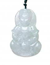 Dahlia Jadeite Grade A Jade Guan Yin Goddess of Mercy and Compassion Pendant Necklace