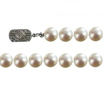 "Classic White 7.5-8mm Single Strand AS1R1 Cultured Pearl 14k Gold Clasp Necklace 18"" - Dahlia Classic Collection"
