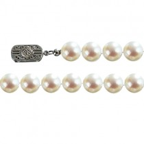 "Classic White 7.5-8mm Single Strand AS2R2 Cultured Pearl 14k Gold Clasp Necklace 18"" - Dahlia Classic Collection"