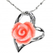 Red Coral Rose Heart Shaped Silver Pendant Necklace