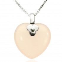 Rose Quartz Heart Shaped Rhodium Plated Sterling Silver Pendant Necklace