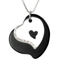 Black Agate Double Heart Shaped Cubic Zirconia Silver Pendant Necklace