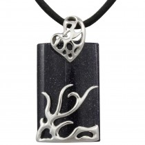 "Dragon Midnight Blue Goldstone Rhodium Plated Sterling Silver Pendant Leather Necklace (20"")"