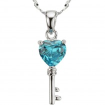 Blue Cubic Zirconia 3.6ct Heart Key Silver Pendant Necklace
