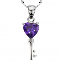 Amethyst Cubic Zirconia 3.6ct Heart Key Silver Pendant Necklace
