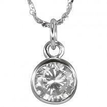 Clear Cubic Zirconia 1ct 6.5mm Solitaire Bezel Silver Pendant Necklace