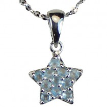 Blue Cubic Zirconia Pave Star Silver Pendant Necklace