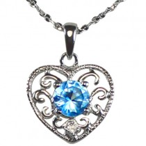 Blue Cubic Zirconia 0.5ct Center Filigree Heart Silver Pendant Necklace