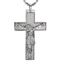 Carbon Fiber Crucifix Cross with Jesus Christ Stainless Steel Pendant Necklace