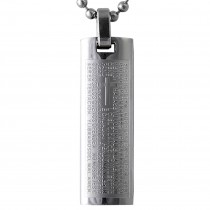 Spanish Lord's Prayer and Cross Stainless Steel Pendant Necklace