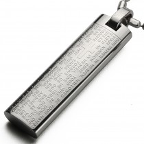 English Lord's Prayer and Cross Stainless Steel Small Pendant Necklace