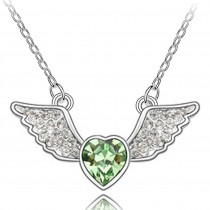 Angel Heart Swarovski Elements Heart Shaped Crystal Rhodium Plated Necklace