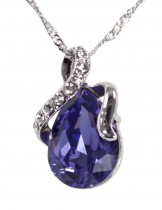 Dahlia Women's Pendant Necklace - Loving Embrace Teardrop Swarovski Elements Crystal