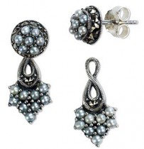 French Twist 2 in 1 Stud and Drop Seed Pearl Sterling Silver Earrings - Dahlia Vintage Collection