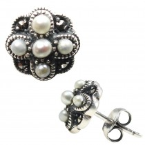 Four Petal Cross-stitch Seed Pearl Sterling Silver Stud Earrings - Dahlia Vintage Collection