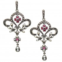 Fleur-de-lis Ruby Seed Pearl Sterling Silver Earrings - Dahlia Vintage Collection