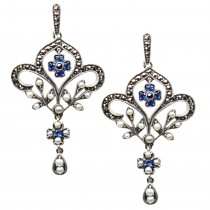 Fleur-de-lis Sapphire Seed Pearl Sterling Silver Earrings - Dahlia Vintage Collection