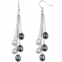 Black & White Cultured Pearl Sterling Silver Dangle Earrings