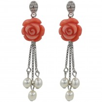 Red Coral Rose Cultured Pearl Droplet Silver Dangle Earrings