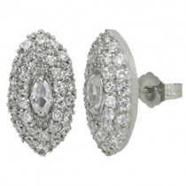 Cubic Zirconia Marquise Silver Stud Earrings
