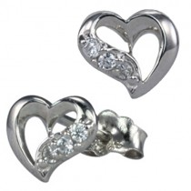 Cubic Zirconia Accented Heart-Shaped Rhodium Plated Sterling Silver Stud Earrings