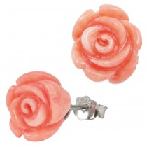 Red Coral Rose Rhodium Plated Sterling Silver Stud Earrings