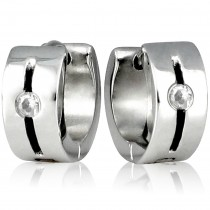 6mm Stainless Steel Rhinestone Slit Huggie Hoop Earrings
