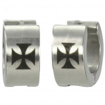 7mm Stainless Steel Iron Cross Huggie Hoop Earrings