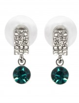 Dahlia Women's Drop Earrings - Pave Round Swarovski Elements Crystal