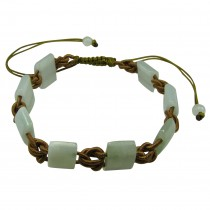 Strength Bracelet with Green Jadeite Jade and Gold Cord
