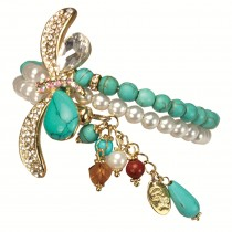 Crystal Faux Turquoise Dragonfly Dangling Drop Pearl Turquoise Wrap Bracelet