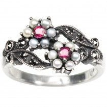 Gemini Seed Pearl Sterling Silver Ring, Ruby - Dahlia Vintage Collection
