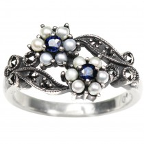 Gemini Seed Pearl Sterling Silver Ring, Sapphire - Dahlia Vintage Collection