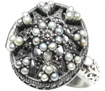 Poison Locket Seed Pearl Sterling Silver Ring - Dahlia Vintage Collection
