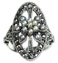 Oval Shield Seed Pearl Sterling Silver Ring - Dahlia Vintage Collection
