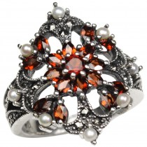 Garnet Fire Burst Seed Pearl Sterling Silver Ring - Dahlia Vintage Collection