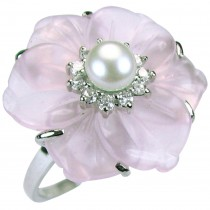 Rose Quartz Cubic Zirconia Flower Cultured Pearl Rhodium Plated Sterling Silver Ring