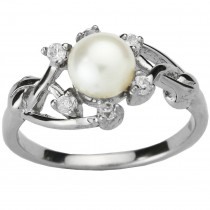 Entwining Vine Cultured Pearl Cubic Zirconia Silver Ring, White