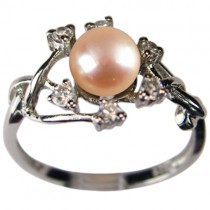 Entwining Vine Cultured Pearl Cubic Zirconia Silver Ring, Peach Pink