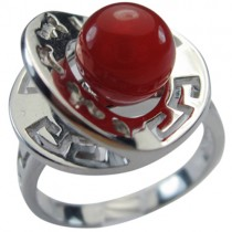 Red Agate Fortune, Luck, Health and Longevity Chinese Symbol Silver Ring