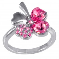 Four Leaf Clover Heart Shaped Swarovski Elements Crystal Rhodium Plated Fashion Ring (Pink)