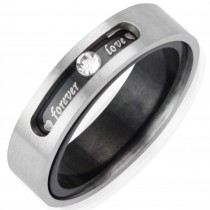 "Dual Layer Stainless Steel ""Forever Love"" Twistable 5.1mm Band Ring - Men"