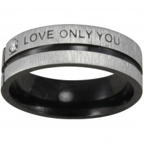 "Black-Tone Stainless Steel ""Love Only You"" Band Ring"