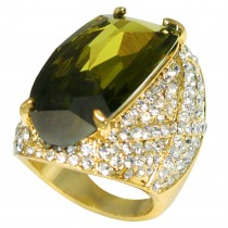 Estate Style Cubic Zirconia Sparkling Crystal Cocktail Ring (Olive Green)