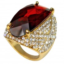 Estate Style Cubic Zirconia Sparkling Crystal Cocktail Ring (Burgundy)