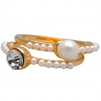 Double Solitaire Faux White Pearl Accented Gold-Tone Stackable Ring Set