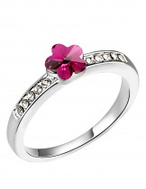 Dahlia Women's Ring - Flower Swarovski Elements Crystal - Pink